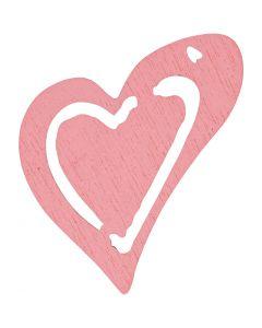 Coeur, dim. 25x22 mm, rose, 20 pièce/ 1 Pq.