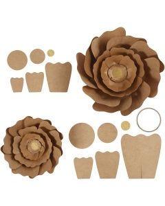 Fleurs en papier, d: 15+25 cm, naturel, 2 pièce/ 1 Pq.