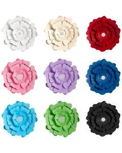 Fleurs en papier, couleurs assorties, 9x10 Pq./ 1 Pq.