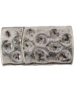 Fermoir magnétique, dim. 7x29 mm, diamètre intérieur 3x10 mm, argent antique, 1 pièce