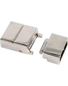 Fermoirs clipsés, dim. 25x16x6 mm, diamètre intérieur 4x8 mm, argenté, 1 pièce