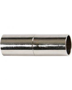 Fermoirs magnétiques, L: 23 mm, diamètre intérieur 6 mm, argenté, 2 pièce/ 1 Pq.