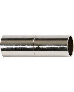 Fermoirs magnétiques, L: 20 mm, diamètre intérieur 5 mm, argenté, 2 pièce/ 1 Pq.