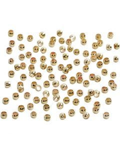 Perles à écraser, d: 2 mm, doré, 100 pièce/ 1 Pq.