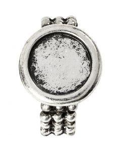 Bague à cabochon, d: 19 mm, diamètre intérieur 14 mm, argent antique, 1 pièce