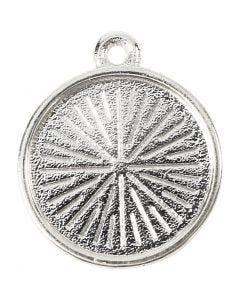 Pendentif cabochon, d: 16 mm, diamètre intérieur 1,5 mm, métal, 4 pièce/ 1 Pq.
