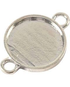 Cabochon, d: 15 mm, diamètre intérieur 2,5 mm, argenté, 25 pièce/ 1 Pq.
