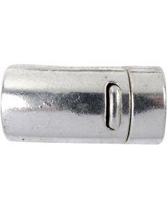 Fermoir magnétique, d: 26 mm, diamètre intérieur 10 mm, argent antique, 1 pièce