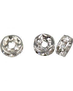 Rondelles avec strass, d: 6 mm, diamètre intérieur 1,2 mm, argenté, 50 pièce/ 1 Pq.