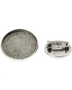 Broche, d: 18+25 mm, argent antique, 6 pièce/ 1 Pq.