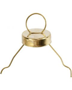 Crochet pour boules, d: 13 mm, diamètre intérieur 5 mm, or, 25 pièce/ 1 Pq.