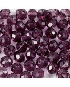 Perles à facettes, d: 4 mm, diamètre intérieur 1 mm, violet, 45 pièce/ 1 rang