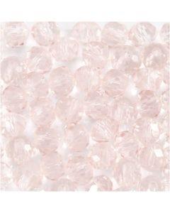 Perles en verre, d: 4 mm, diamètre intérieur 1 mm, rose clair, 45 pièce/ 1 rang