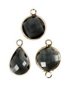 Pendentif pour bijoux, H: 15-20 mm, diamètre intérieur 2 mm, gris, 1 Pq.