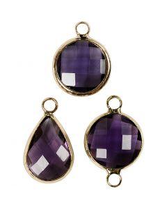 Pendentif pour bijoux, H: 15-20 mm, diamètre intérieur 2 mm, violet, 1 Pq.
