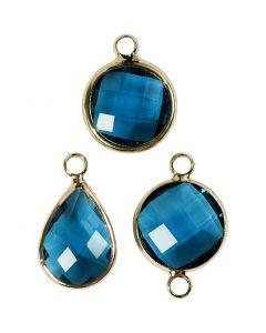 Pendentif pour bijoux, H: 15-20 mm, diamètre intérieur 2 mm, turquoise, 1 Pq.