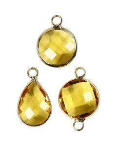 Pendentif pour bijoux, H: 15-20 mm, diamètre intérieur 2 mm, jaune, 1 Pq.