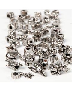 Ornements mode, d: 7-18 mm, diamètre intérieur 4 mm, Le contenu peut varier , argent antique, 100 gr/ 1 Pq.
