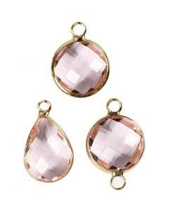 Pendentif pour bijoux, H: 15-20 mm, diamètre intérieur 2 mm, rose clair, 1 Pq.