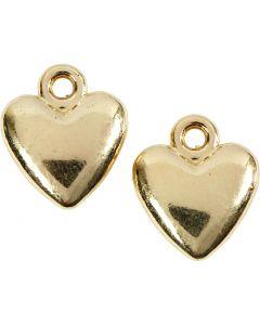 Pendentif en forme de coeur, dim. 13x15 mm, doré, 10 pièce/ 1 Pq.
