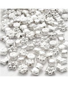 Perles plastique Novelty, dim. 4-10 mm, diamètre intérieur 1-1,5 mm, argenté, 200 pièce/ 1 Pq.