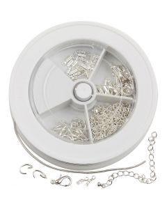 Set chaîne à bijoux, argenté, 1 set