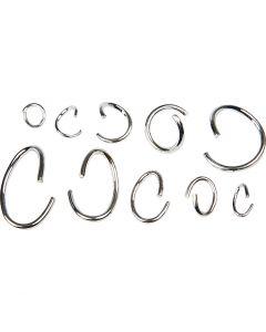 Boucles rondes et ovales, argenté, 800 ass./ 1 Pq.