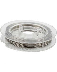 Fil à perles, ép. 0,38 mm, argent, 10 m/ 1 rouleau