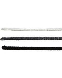 Fil avec nylon, L: 40 cm, ép. 1,5 mm, noir, gris, blanc, 6 pièce/ 1 Pq.