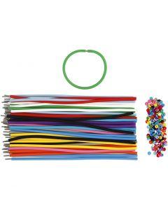 Bracelets - Assortiment, L: 20 cm, ép. 4 mm, couleurs assorties, 48 set/ 1 Pq.