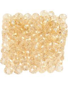 Perles à facettes, dim. 3x4 mm, diamètre intérieur 0,8 mm, topaz, 100 pièce/ 1 Pq.