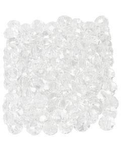 Perles à facettes, dim. 3x4 mm, diamètre intérieur 0,8 mm, cristal, 100 pièce/ 1 Pq.
