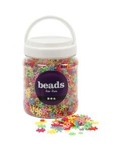 Perles plastique Novelty, d: 7-13,5 mm, diamètre intérieur 2 mm, couleurs assorties, 700 ml/ 1 boîte, 270 gr