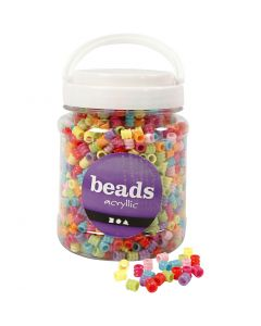Perles baril, d: 7 mm, diamètre intérieur 3,5 mm, couleurs assorties, 700 ml/ 1 boîte