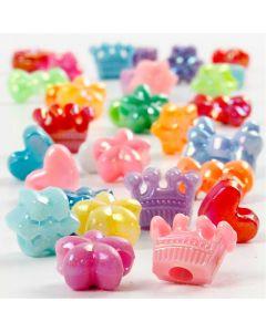 Perles plastique Novelty, d: 10 mm, diamètre intérieur 3 mm, 125 ml/ 1 Pq.