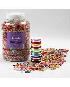 Perles en plastique et cordon élastique pour perles , dim. 6-20 mm, diamètre intérieur 1,5-6 mm, 1 Pq.