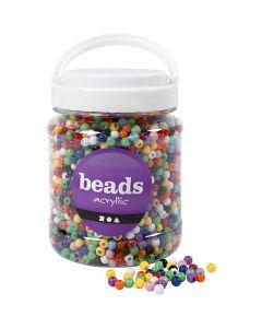 Perles Pony, d: 6 mm, diamètre intérieur 3 mm, couleurs assorties, 700 ml/ 1 boîte, 425 gr
