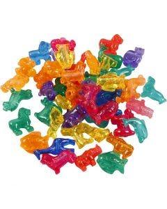 Perles plastique Novelty, dim. 25 mm, diamètre intérieur 4 mm, 1000 gr, couleurs assorties, 2000 ml/ 1 boîte
