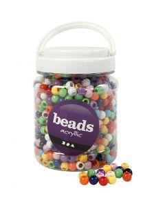 Perles Pony, d: 10 mm, diamètre intérieur 4,5 mm, couleurs assorties, 700 ml/ 1 boîte, 430 gr
