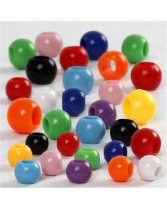Perles Pony, dim. 6-10 mm, diamètre intérieur 3-5 mm, 150 ml/ 1 Pq., 85 gr