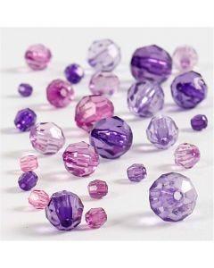Mix de perles à facettes, dim. 4-12 mm, diamètre intérieur 1-2,5 mm, violet, 45 gr/ 1 Pq.