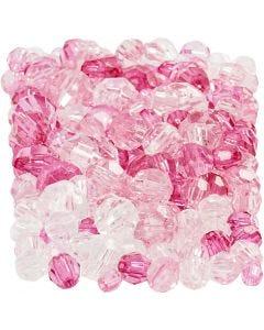 Mix de perles à facettes, dim. 4-12 mm, diamètre intérieur 1-2,5 mm, pink (081), 250 gr/ 1 Pq.