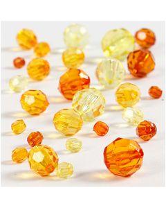 Mix de perles à facettes, dim. 4-12 mm, diamètre intérieur 1-2,5 mm, jaune (32227), 45 gr/ 1 Pq.