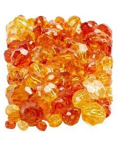 Mix de perles à facettes, dim. 4-12 mm, diamètre intérieur 1-2,5 mm, jaune (32227), 250 gr/ 1 Pq.