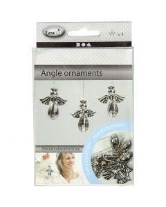 Ornements anges, H: 5,5 cm, L: 4,5 cm, argent, 4 pièce/ 1 Pq.