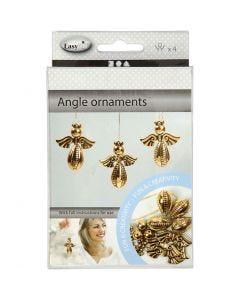 Ornements anges, H: 5,5 cm, L: 4,5 cm, or, 4 pièce/ 1 Pq.
