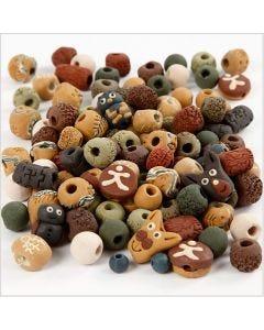Perles en céramique, dim. 7-18 mm, diamètre intérieur 2-4 mm, couleurs assorties, 300 gr/ 1 Pq.