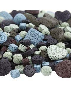 Mix de perles de lave, dim. 6-37 mm, diamètre intérieur 1+2 mm, Le contenu peut varier , couleurs assorties, 20 rangs/ 1 Pq.