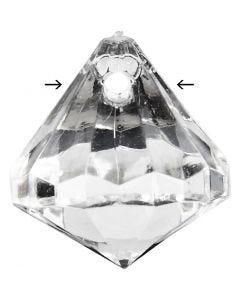 Perles acryliques, dim. 17x16 mm, diamètre intérieur 1,2 mm, brillant transparent, 43 pièce/ 1 Pq.