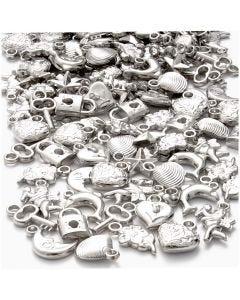 Breloques argentées, dim. 15-20 mm, diamètre intérieur 3 mm, 80 gr/ 1 Pq.